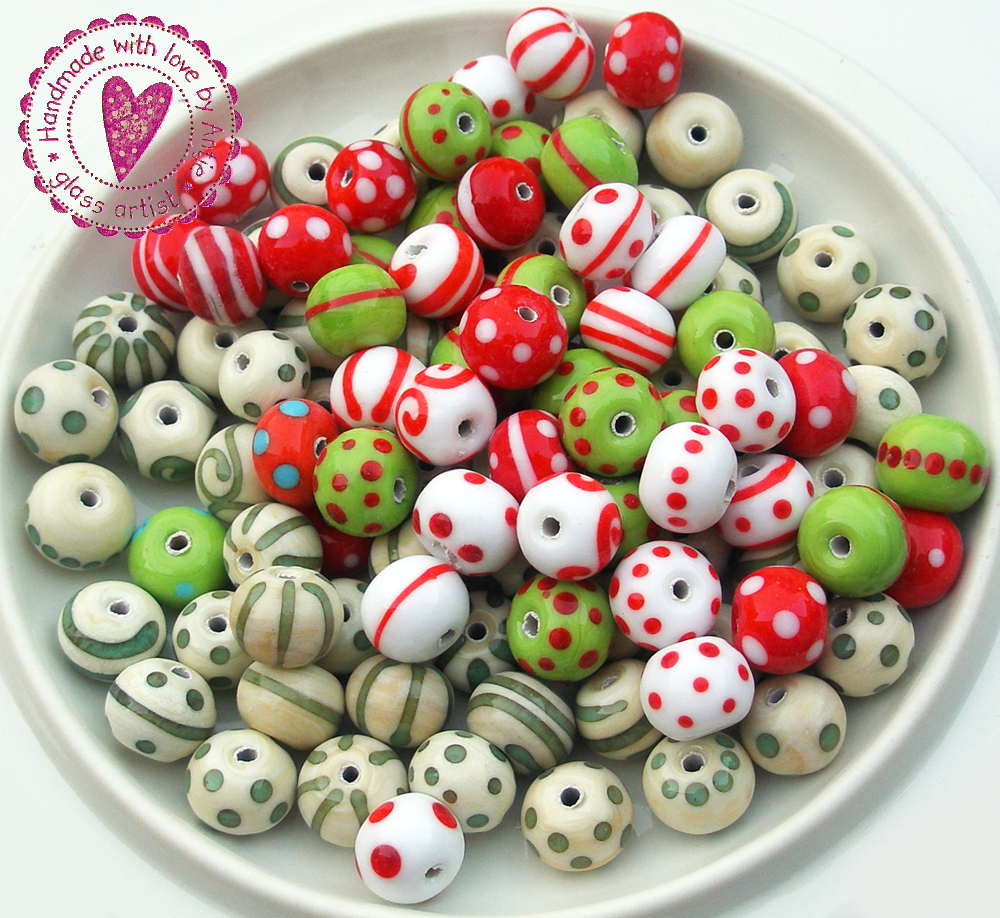 perles crées au chalumeau, lors des démonstrations